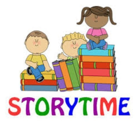 storytime with picture of books and 3 children