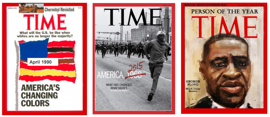 3 covers of Time magazine: one from 1990, one from 2015, and one from 2021.