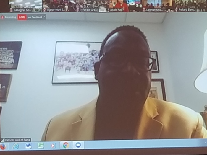 Andre Tippett from the New England Patriots during a live webinar.