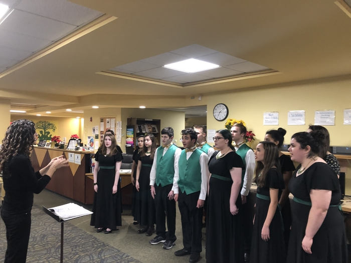 Sentinel singers at performance for school committee