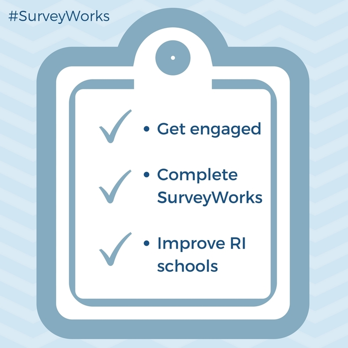 Checklist for surveyworks (Get engaged, complete surveyworks, improve RI schools)