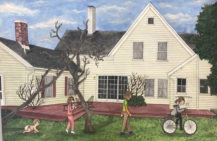 The mixed media artwork is a beautiful rendering of a student's family vacation home with figure drawings of herself as a baby, toddler, child, and teenager.