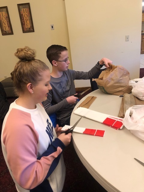 students prepare bags