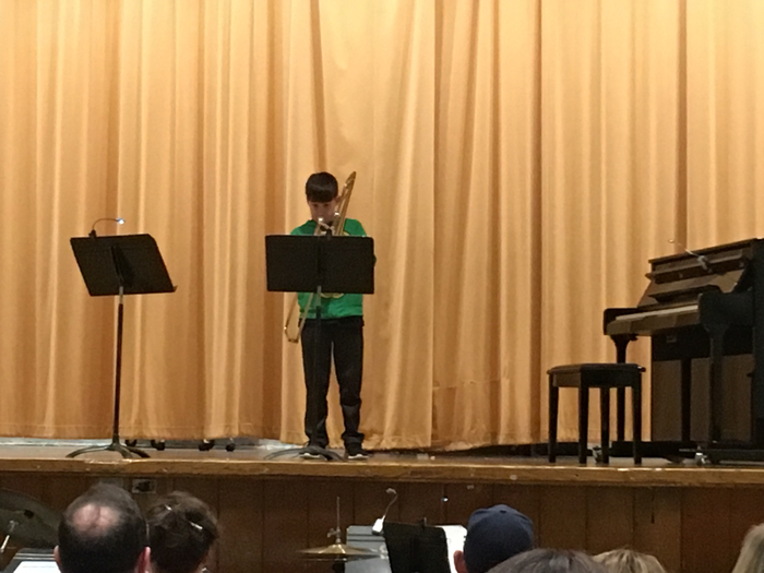 Fifth grader performing