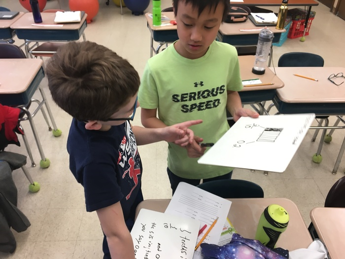Fourth Graders share their thinking in math