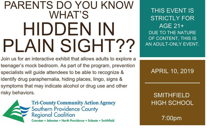 Hidden in Plain Sight Invitation April 10th 7:00 PM at Smithfield High School