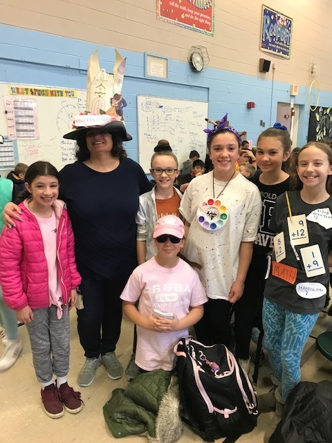 Students and Mrs. Rego dressed up for vocabulary day