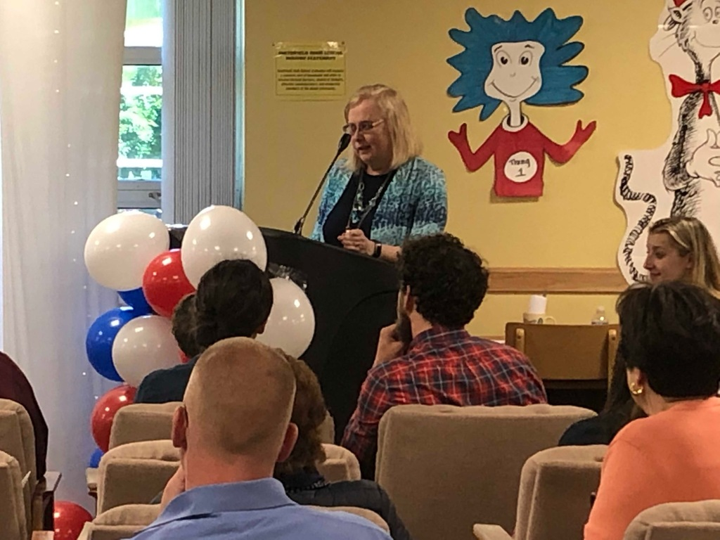 Mrs. DiSano speaks at the playschool graduation