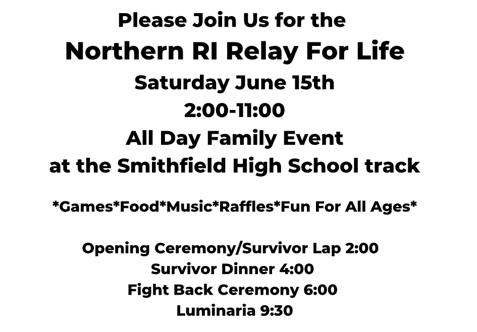 Relay for Life June 15th 2:00-11:00 SHS