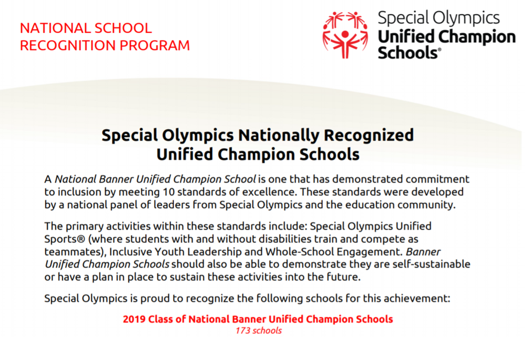 Special Olympics notification of nationally recognized schools