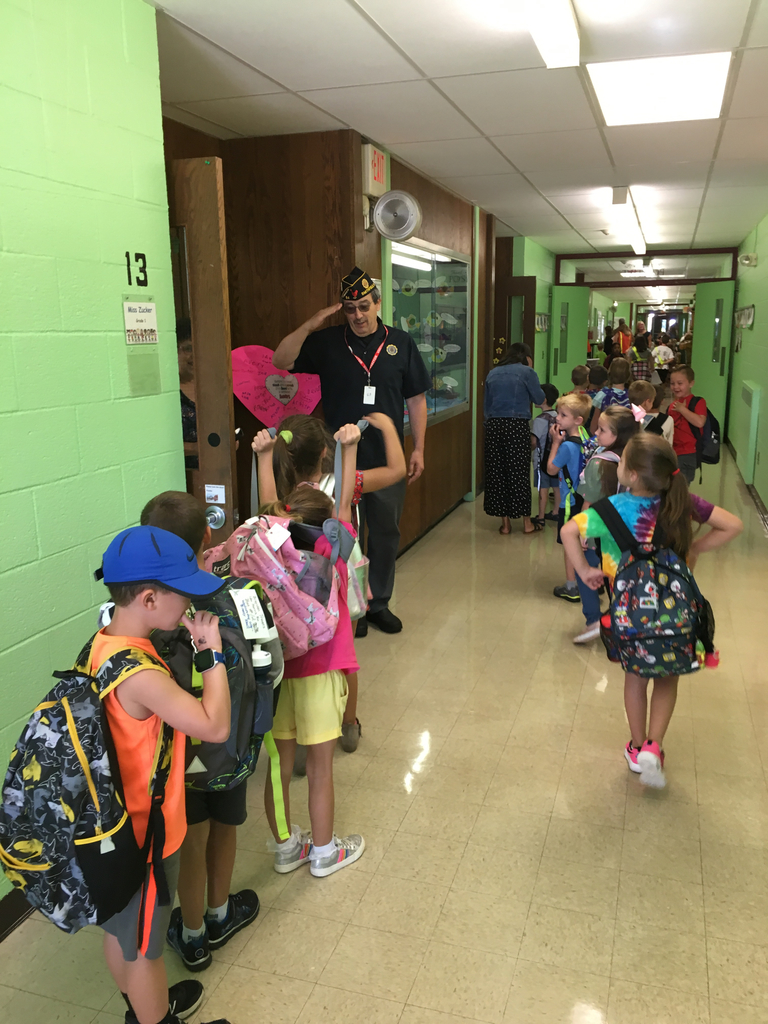 Greeting first graders at the door