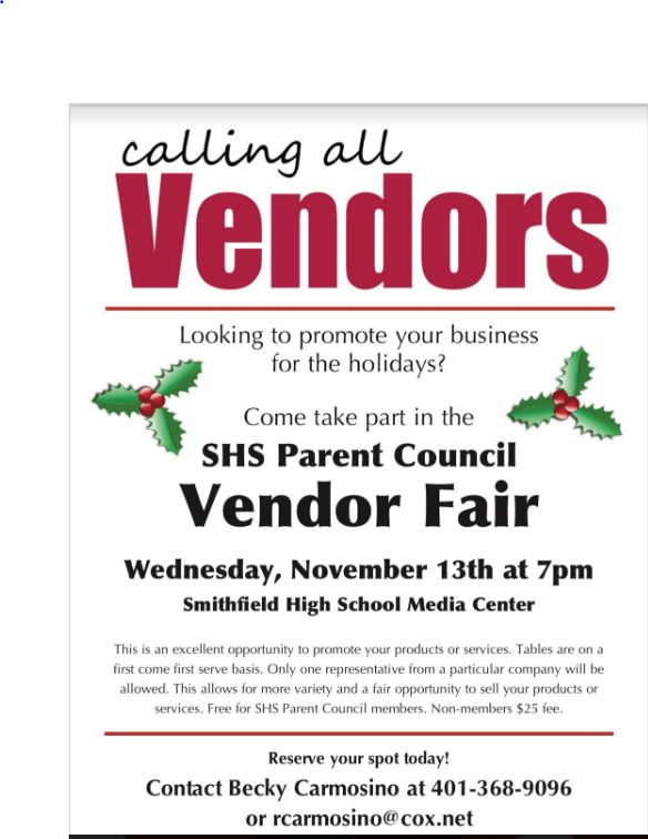 "Vendor Fair flyer - ""calling all vendors"" come take part in the SHS parent council vendor fair"
