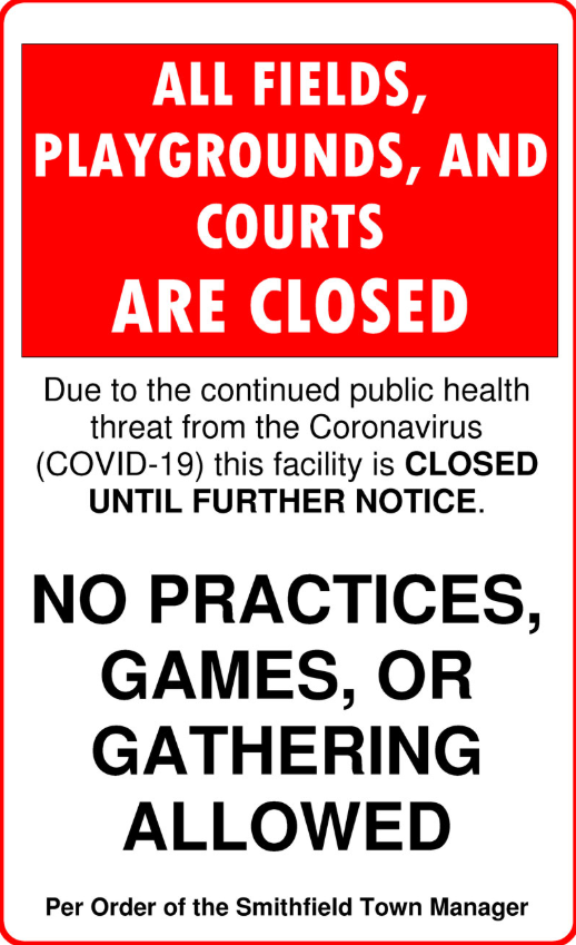 Sign closing all fields, courts, and playgrounds until further notice