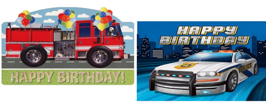 Fire Truck and Police Care Happy Birthday