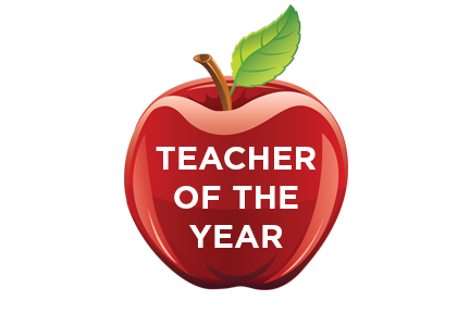 Apple with Teacher of the Year written on it