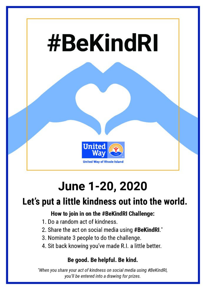 Be kind RI poster June 1-20 Put a little kindness out into the world.