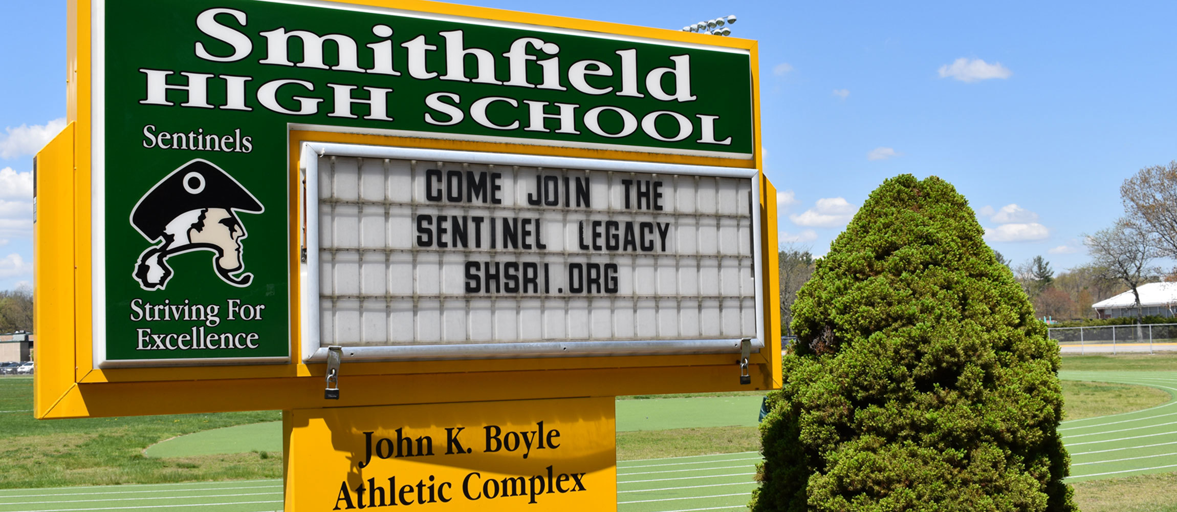 Sign at front of Smithfield High School